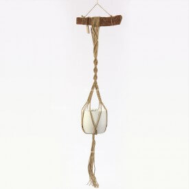 Eco macrame brown and white with wood hadle Home