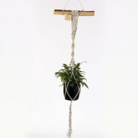 Adiantum Eco macrame black and white whit wooden handle Home