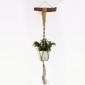 Adiantum Eco macrame brown and white with wood hadle Home