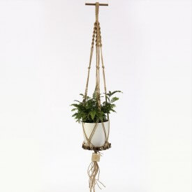 Adiantum Eco macrame brown and white whit woden base Home