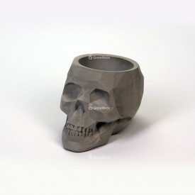 Grey 3D skull with green phytonia Concrete decorations