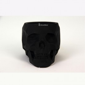 Czarna czaszka 3D z fitonią zieloną Betonowe dekoracje