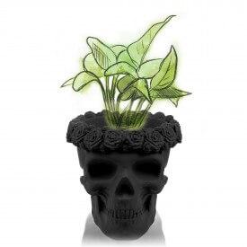 Crâne noir en 3D avec des fleurs Décorations en béton