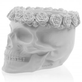 Biała czaszka 3D z kwiatami Betonowe dekoracje